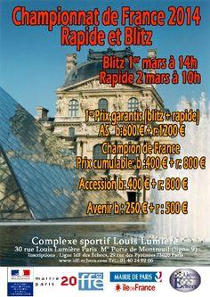 Echecs : les Championnats de France Rapide et Blitz 2014 les 1er et 2 Mars à Paris - http://viadeo.com/s/g7jDt #chess #strategie #echecs #tactique #jeu