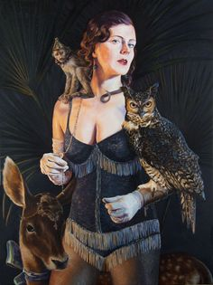 JARED JOSLIN - Portrait of Jessica with Otto, Cooper & Helmut, 2011 40 x 30