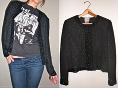 Black Beaded Cropped Jacket and black t shirt