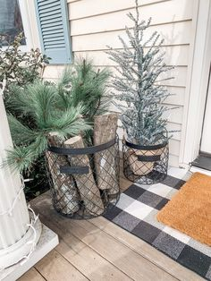 I went for a timeless winter porch look this year. Something that is simple yet festive and will look great all Winter long. If you are a lover of everything flocked and neutral you are going to want to check this out! Farmhouse Christmas Decor, Rustic Christmas, Winter Christmas, Christmas Home, Simple Christmas, Christmas Crafts, Christmas Porch Ideas, Christmas Manger, Christmas Pictures