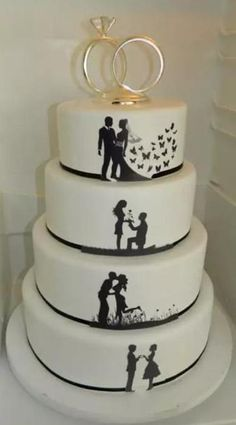 Silhouette Wedding cake.  I think this is really cute!