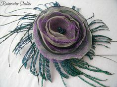Peacock Wedding Hair Clip Couture Inpired by RainwaterStudios, $30.00