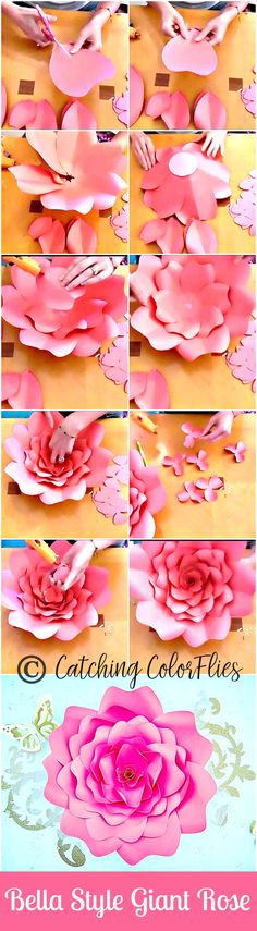 Giant Paper Rose Tutorial. Flower wall. How to make giant paper flowers. Patterns and tutorials. #DIY CatchingColorflies.com All rights reserved.