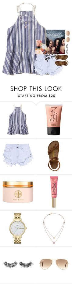"""lazy"" by ellaswiftie13 ❤ liked on Polyvore featuring Hollister Co., NARS Cosmetics, One Teaspoon, Birkenstock, Tory Burch, Too Faced Cosmetics, Kate Spade, Michael Kors, Rimini and Ray-Ban"