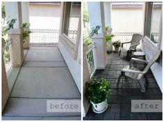 Simple inexpensive small porch makeover. It looks so much more inviting.