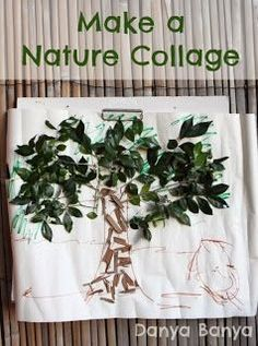 Tree nature collage with leaves and bark - fun outdoor kids craft idea for spring or summer