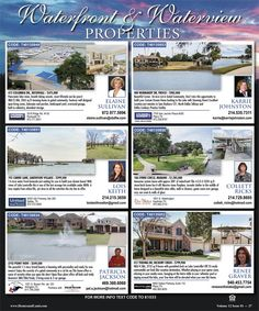 Looking for a waterfront home?! The warm weather will be here before you know it! We have listing just for you on our Waterfront Ad in the newest issue of Homes & Land of Dallas/Fort Worth!