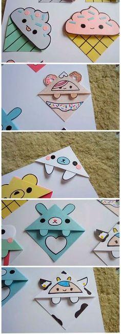 Leuk voor je kinderen die nu weer naar school gaan: boekenleggers knutselen. Ga lekker met je kinderen aan de keukentafel zitten en maak de mooiste creaties. | Paper Art, Diy Projects, Origami Bookmark, Paper Bookmarks, Craft Sticks, Dyi Crafts, Diys, Nifty, School Ideas