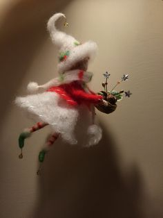 Needle felted Fairy Waldorf inspired doll with basket Winter fairy Christmas décor