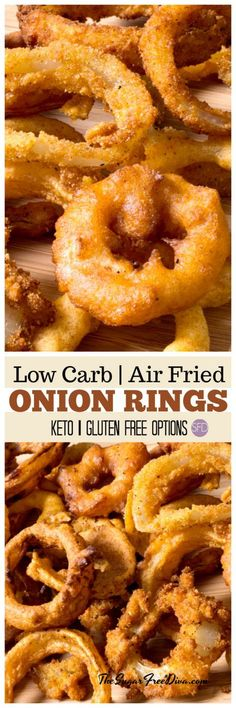 So Good Too!! Low Carb Air Fried Onion Rings #lowcarb #glutenfree #keto #appetizer #easy #recipe #yummy #tailgate