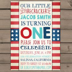 4th of July Birthday Party Invitation fourth of July Red White Blue 4th of July invitation Little firecracker Digital printable ANY AGE