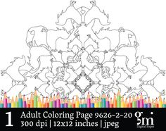 Coloring Pages, Adult Coloring Pages, Printable Coloring Pages, Mandala Digital, Mandala Digital Clip Art, Mandala Clipart, Instant Download - pinned by pin4etsy.com