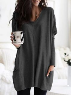Casual Solid Long Sleeves Cotton Round Neck T-shirts Blouses, veryvoga Loose Shirts, Casual T Shirts, Long T Shirts, Plain Shirts, Estilo Fashion, Ideias Fashion, Women's Fashion, Latest Fashion, Winter Fashion
