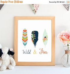 ON SALE Wild & Free printable art,wall art, home decoration, nursery, kid's room, instant digital download. - pinned by pin4etsy.com