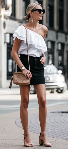 summer outfits Wearing This Black Denim Skirt Again & Love Pairing It With Ruffles! This Top Is Under $60 And Comes In So Many Colors!