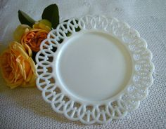 Vintage Westmoreland Milk Glass Wicker Edge H by HoneyYourHome, $18.00