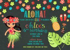 Luau Birthday Party Invitation, Aloha. 6th birthday. idea. Hawaii. Luau Birthday, Birthday Parties, Custom Birthday Invitations, Hawaii, Party Ideas, Anniversary Parties, Personalized Birthday Invitations, Ideas Party, Birthday Celebrations