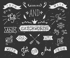 """tableau à craie: Un ensemble de mots-clés de style tableau noir et des éléments de conception. Dessinés à la main mots """"et"""", """"pour"""", """"à partir de"""", """"avec"""", """"le"""", """"par"""". Éléments décoratifs et des embellissements. Illustration"""
