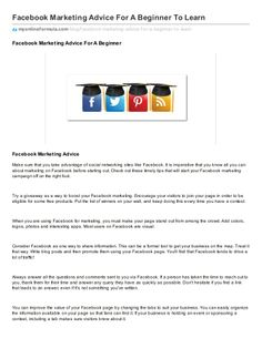 Facebook marketing advice for a beginner to learn by ErickEsmenjaud via slideshare