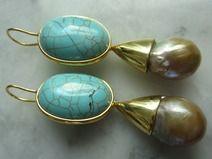Ohrringe Vintage Tuerkis Perle Suedsee  Chandelier