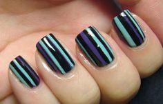 Diseños de uñas con rayas y colores, Diseños de uñas con rayas vertical.   #manicuras #nailsCLUB #uñasdeboda