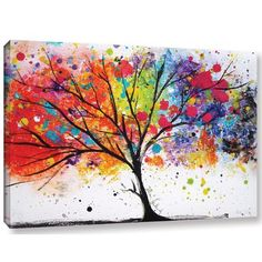 'Rainbow Tree II' Painting Print on Canvas - Painting - Simple Canvas Paintings, Small Canvas Art, Easy Canvas Painting, Cute Paintings, Tree Canvas, Diy Canvas Art, Diy Painting, Painting Prints, Canvas Prints