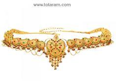 22K Gold '2 in 1' Vaddanam cum Long Necklace: Totaram Jewelers: Buy Indian Gold jewelry & 18K Diamond jewelry