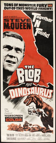 1964 The Blob Plus Dinosaurs | Original Movie Poster (MEARS Auction LOA) Starring Steve McQueen #Grindhouse