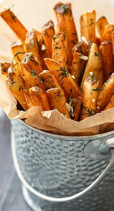 Homemade French Fries with Fresh Garlic and Dill  www.tablescapesbydesign.com https://www.facebook.com/pages/Tablescapes-By-Design/129811416695