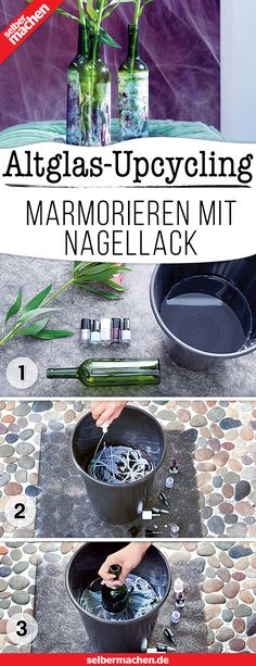 Marbled flower vase - quickly made from old bottles! - Upcycling with wine bottles: You can conjure up a charming arrangement from nail polish, an empty b - Upcycled Home Decor, Upcycled Crafts, Diy Flowers, Flower Vases, Letras Tattoo, Big Living Rooms, Diy Upcycling, Diy Projects For Beginners, Empty Bottles