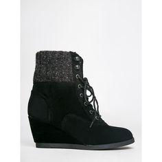 Madden Girl Destiin Bootie ($80) ❤ liked on Polyvore featuring shoes, boots, ankle booties, black, wedge ankle boots, wedge booties, black wedge bootie, high heel ankle boots and lace up wedge booties