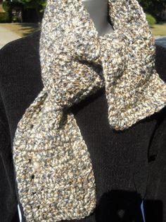 Crocheted Neckwarmer in Gray Tan and Cream by crochetedbycharlene
