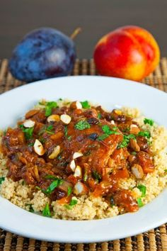 Moroccan Nectarine and Plum Chicken Tagine. Time to invest in a tagine. Morrocan Food, Moroccan Dishes, Moroccan Recipes, Nectarine And Plum, Tagine Cooking, Tandoori Masala, Tagine Recipes, Ras El Hanout, Eastern Cuisine