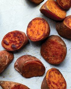 """Old Bay-Roasted Sweet Potatoes: 3 med sw taters scrubbed & sliced into 1"""" slices, 1 Tbs EVOO, 1.5 tsp Old Bay.  Roast on pan in 500 deg oven for approx. 30 mins, turning once."""