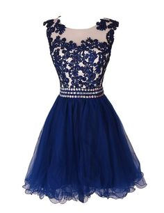 Charming Blue Homecoming Dress,Applique Prom Dress, Sleeveless Homecoming Dress
