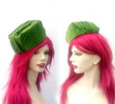 Vintage 1960's Funky MOD Olive Green Velvet Square & Tall Pillbox Hat, Unique Retro Military Style Hat, Spring Summer High Fashion Hat by VintageDoylestown on Etsy