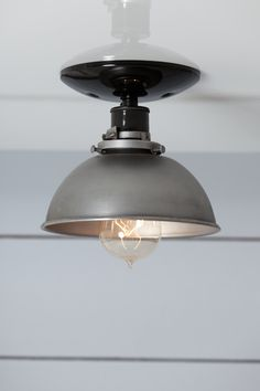 Steel Metal Dome Shade Light - Semi Flush Mount Ceiling Lighting - Industrial Light Electric - 1