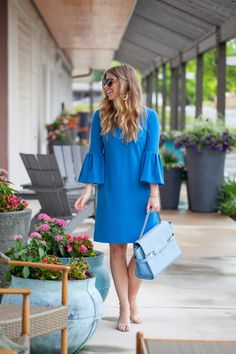 Blue Bell Sleeve Dress and Baby Blue Satchel styled on Louella Reese Life & Style Blog