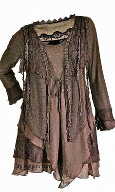PLUS SIZE Layered Vintage Blouse In Coffee