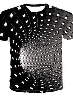 Men's Daily Street chic / Punk & Gothic Plus Size T-shirt - Geometric / Print Round Neck Black XXXXL / Short Sleeve Tank Top Herren, Herren T Shirt, Print T Shirts, 3d T Shirts, Chic Punk, Street Style Chic, Bleu Violet, Geometric 3d, Top Streetwear
