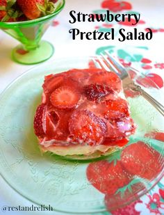 Strawberry Pretzel Salad is the perfect fruity and sweet dessert for your Fourth of July party! #fourthofjulyfood #fourthofjulyrecipe