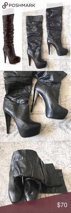 Alice and Olivia leather platform boot Slightly worn buttery soft leather knee high boot Alice + Olivia Shoes Platforms