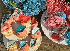 FOOD: Cupcakes with Twin Sail Boat Embellishments (various papers used from Paper Source). Creative & Photography by Chris Norman. DIY Origami directions: http://www.origami-fun.com/origami-sail-boats.html