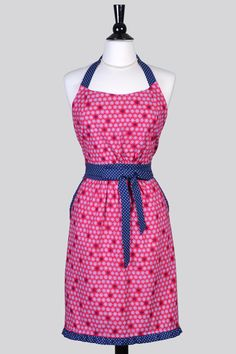 Classic Womens Retro Apron . Red and Navy Blue Nautical Print Cute Vintage Inspired Womans Kitchen Apron with Pockets and Fitted Bodice by CreativeChics on Etsy