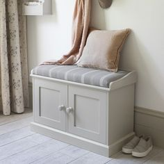 Our double storage bench makes a neat hallway seat, doubling up as practical storage for shoes, boots and scarves. With an upholstered pad it makes a great seating area . Shoe Storage Seat, Hallway Shoe Storage Bench, Hallway Seating, Storage Bench Seating, Corner Seating, Bedroom Seating, Lounge Seating, Bedroom Storage, Furniture Storage