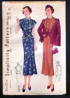 Simplicity 1997 |1930s Misses' Ensemble