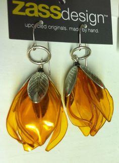 aluminum cans and plastic bottles -Flower buds earrings .... $25.00, via Etsy.