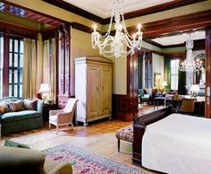Chandeliers in bedrooms at the pet friendly Wentworth Mansion in Charleston, SC!