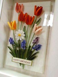 オレンジ色のチューリップたち / HAPPY BIRTHDAY! の画像|Toshi's Paper Quilling ♪