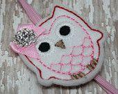 Embroidered Felt Owl Skinny Headband, baby headband, baby girl headband,headband.